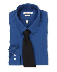 Perry Ellis - Blue Slim Fit Tonal Stripe Dress Shirt for Men - Lyst