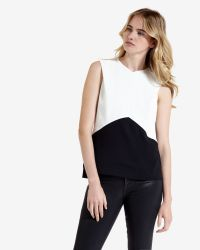 Ted Baker | Black Colour Block Top | Lyst