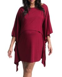 Bun Maternity | Red Poncho Tunic Maternity Dress | Lyst