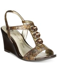 Anne Klein | Metallic Evonne Embellished Wedge Sandals | Lyst