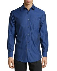 Neiman Marcus - Blue Trim-Fit Twill Sport Shirt for Men - Lyst