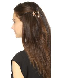 Dauphines of New York - Metallic Forget Me Not Barrette - Rose Gold/pearl - Lyst