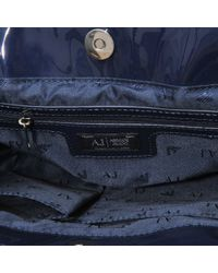 f3d423bfd5 Lyst - Armani Jeans 5235 Small Patent Tote in Blue
