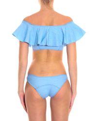 Lisa Marie Fernandez - Blue Mira Denim Flounce Bikini - Lyst