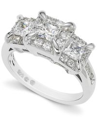 Macy's | Diamond Three-stone Ring In 14k White Gold (1-1/2 Ct. T.w.) | Lyst