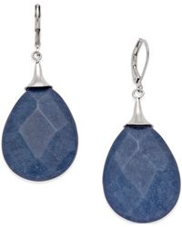 Macy's - Now & Zen Silver-tone Blue Stone Faceted Drop Earrings - Lyst
