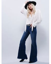 Free People | Blue Womens Retrograde Cord Super Flare | Lyst