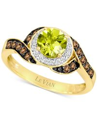 Le Vian | Yellow Peridot (7/8 Ct. T.w.) And Diamond (1/3 Ct. T.w.) Ring In 14k Gold | Lyst