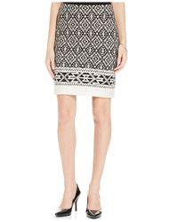 Karen Kane - White Jacquard Tribal-Print Pencil Skirt - Lyst