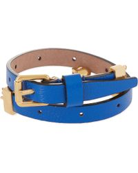 Alexander McQueen | Blue Double Wrap Leather Skull Bracelet | Lyst