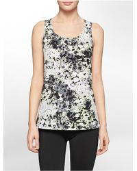 Calvin Klein - Gray White Label Performance Watercolor Print High Low Tank Top - Lyst