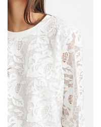 Forever 21 | White Embroidered Mesh Layered Pullover | Lyst