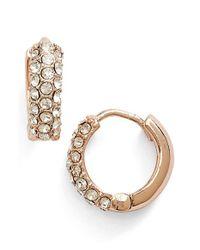 Anne Klein | Metallic Pave Hoop Earrings | Lyst