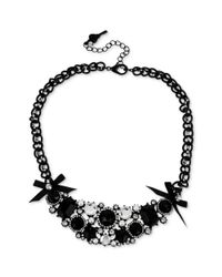 Betsey Johnson - Blackplated Crystal And Bow Frontal Necklace - Lyst