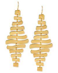 Robert Lee Morris - Metallic Gold-tone Sculptural Rectangle Linear Earrings - Lyst