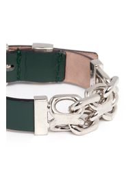 Alexander McQueen | Green Chain Leather Bracelet | Lyst