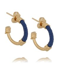Aurelie Bidermann | Blue Mini Creoles Gold-plated And Cotton Hoop Earrings | Lyst