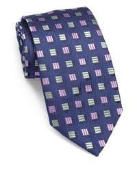 Charvet - Blue Shadow Boxes Silk Tie for Men - Lyst