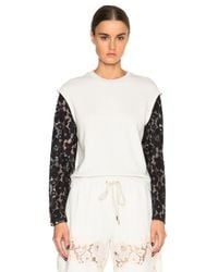 3.1 Phillip Lim - White Lace Organza Sweatshirt - Lyst