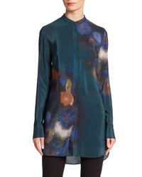 Akris Punto - Blue Flower-print Silk Tunic Blouse - Lyst