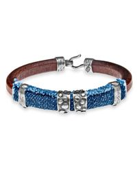 Platadepalo | Blue Silver Brown Leather Bracelet With Denim | Lyst