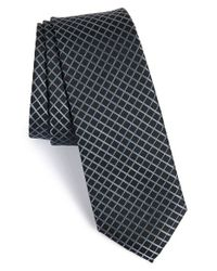 Calibrate - Black 'timor Grid' Silk Tie for Men - Lyst