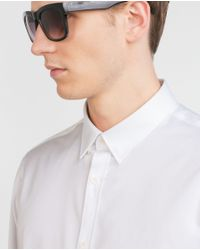 Zara | White Shirt With Piped Collar Interior for Men | Lyst