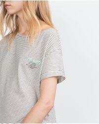 Zara | White T-shirt With Appliqué | Lyst