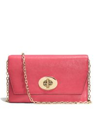 COACH - Pink Madison Crossbody Clutch Wallet In Leather - Lyst