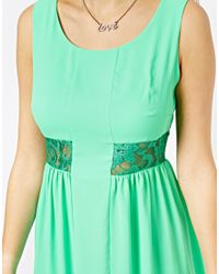 Love - Green Shift Dress with Lace Insert - Lyst