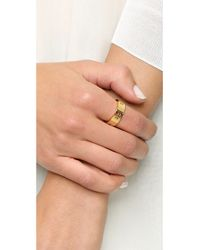 Tory Burch - Metallic Pierced T Ring - Shiny Gold - Lyst