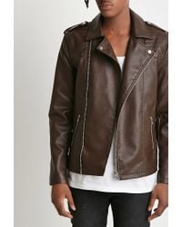 Forever 21 - Brown Faux Leather Moto Jacket for Men - Lyst