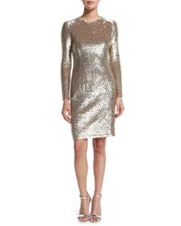 Michael Kors - Metallic Sequined Long-sleeve Dress - Lyst