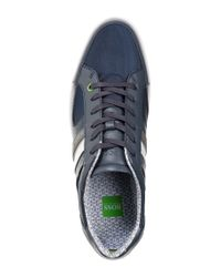 BOSS Green - Blue 'Metro Digital' | Nylon And Faux Leather Sneakers for Men - Lyst