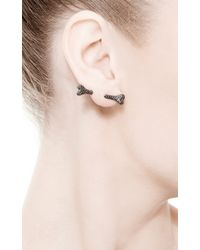 Runa - Dog Bone Single Stud Earring with Black Diamonds - Lyst
