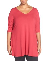 Eileen Fisher | Red V-Neck Jersey Tunic Top | Lyst