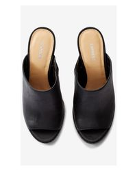 Express - Black Stacked Heel Mule - Lyst
