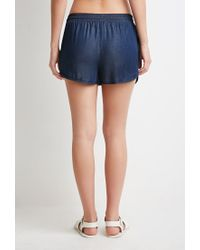 Forever 21 | Blue Chambray Dolphin Shorts | Lyst