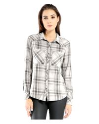 Michael Stars | White Plaid Long Sleeve Button Front Tunic | Lyst