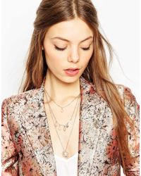 ASOS - Metallic Pearl And Rose Multirow Necklace - Lyst