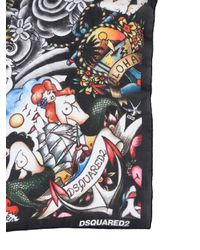 DSquared² | Black Tattoo Printed Silk Square Scarf | Lyst