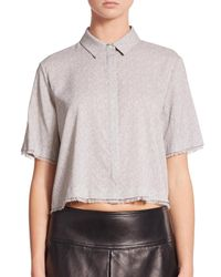 T By Alexander Wang   Gray Cropped Silk-stretch Blouse   Lyst
