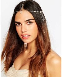 ASOS - Metallic Pearl & Chain Cluster Hair Crown - Lyst