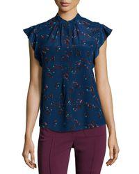 Rebecca Taylor - Blue Silk Flutter-sleeve Floral Top - Lyst