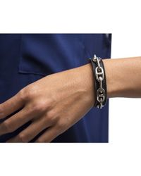 Hermès - Pre-owned Silver Chaine D Ancre Black Leather Cuff - Lyst
