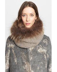 Fabiana Filippi - Brown Alpaca Knit Collar With Genuine Fox Fur Trim - Lyst
