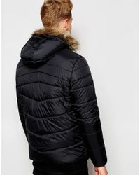 Jack & Jones - Black Padded Jacket With Faux Fur Hood for Men - Lyst