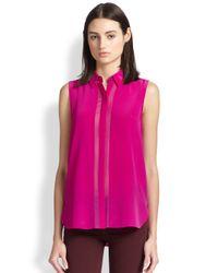 Vince - Pink Silk Sleeveless Shirt - Lyst