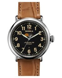 Shinola - Metallic 'the Runwell' Moon Phase Leather Strap Watch for Men - Lyst