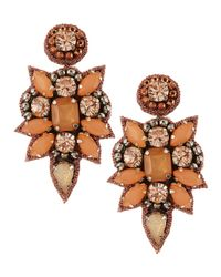 Deepa Gurnani | Green Crystal Cluster Drop Earrings Peach | Lyst